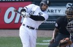 Chicago White Sox's Leury Garcia hits a sacrifice fly off Baltimore Orioles relief pitcher Jimmy Yacabonis, scoring Melky Cabrera, during the sixth inning of a baseball game Thursday, June 15, 2017, in Chicago. (AP Photo/Charles Rex Arbogast)
